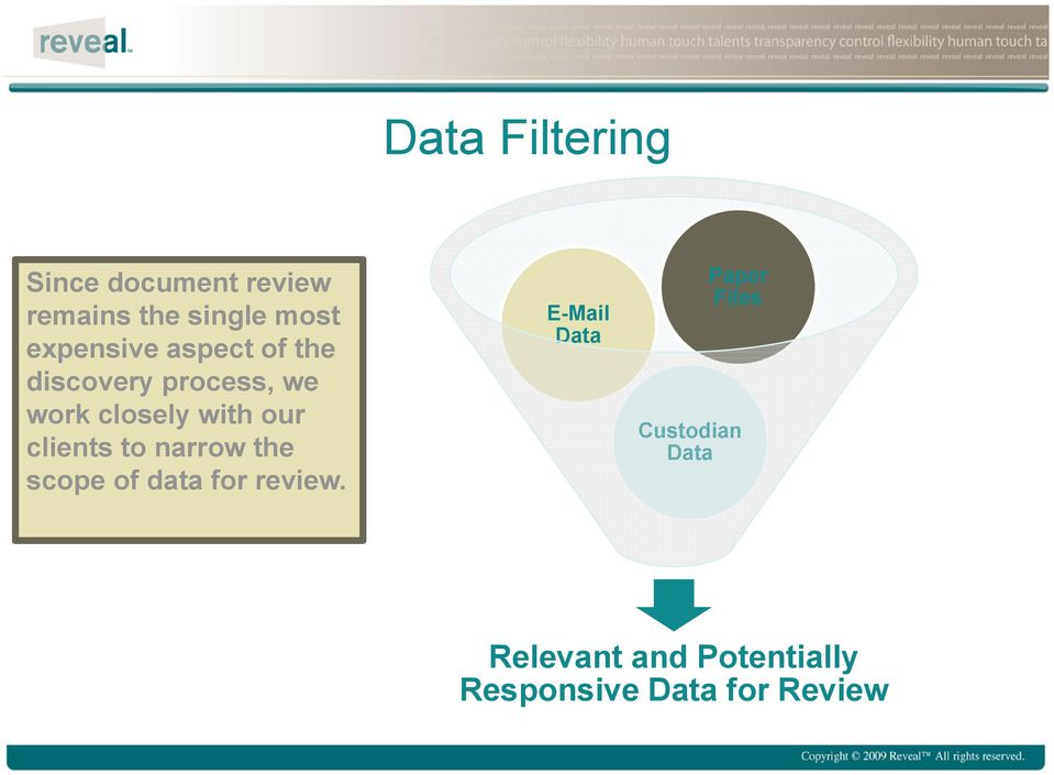 our clients to narrow the scope of data for review.