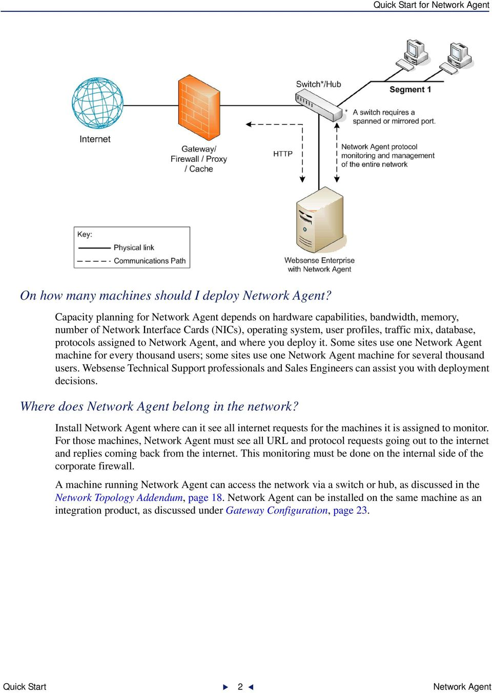assigned to Network Agent, and where you deploy it. Some sites use one Network Agent machine for every thousand users; some sites use one Network Agent machine for several thousand users.