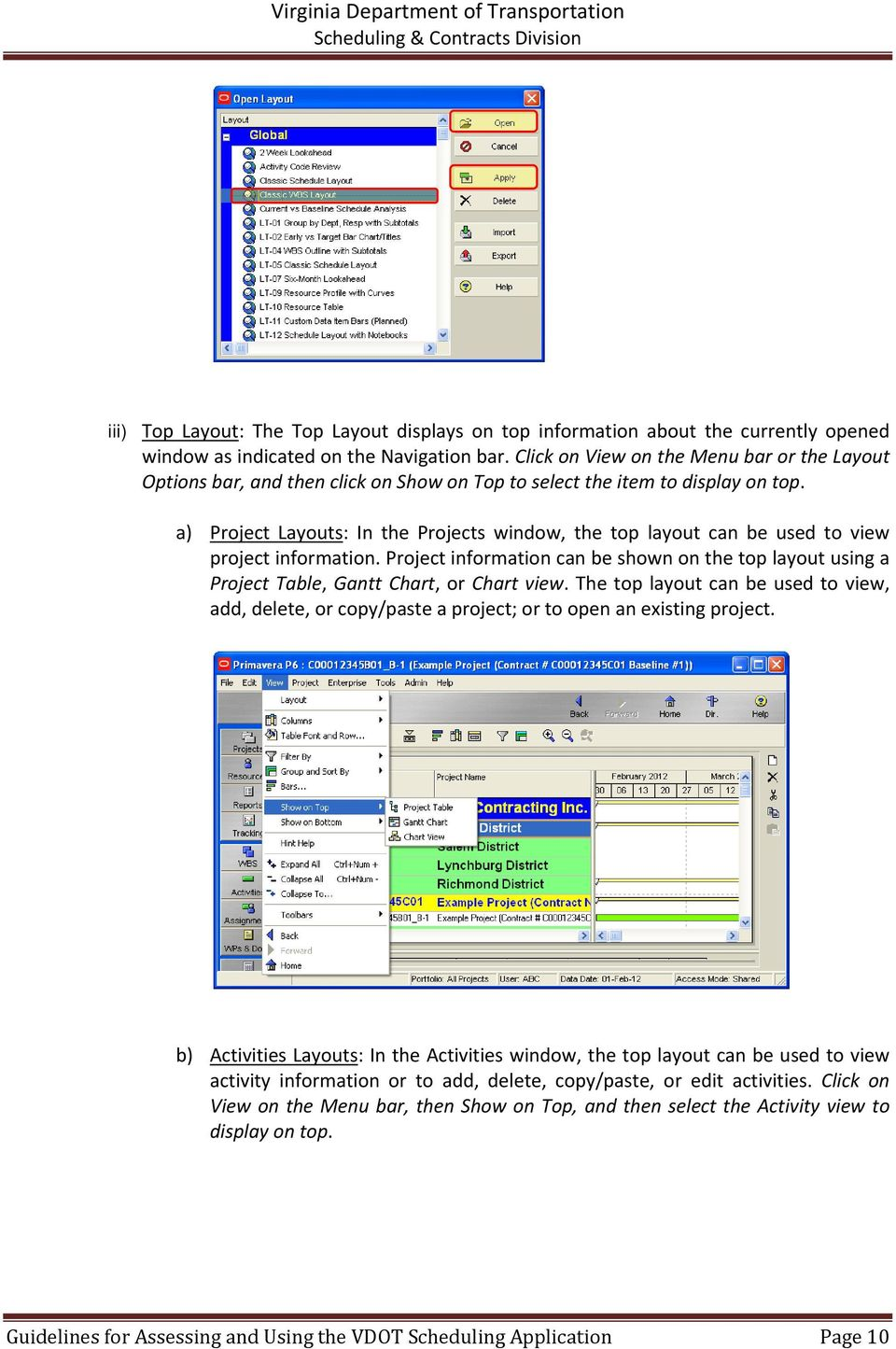 a) Project Layouts: In the Projects window, the top layout can be used to view project information.