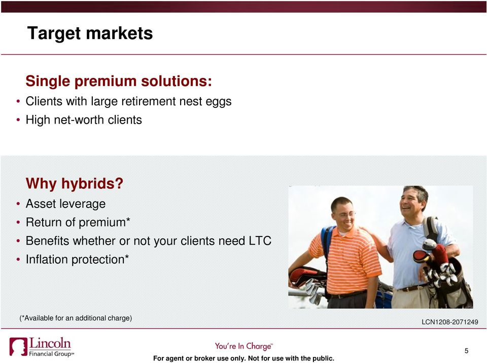 Asset leverage Return of premium* Benefits whether or not your