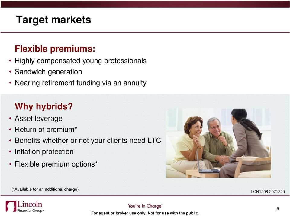 Asset leverage Return of premium* Benefits whether or not your clients need