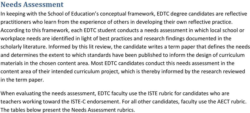 According to this framework, each EDTC student conducts a needs assessment in which local school or workplace needs are identified in light of best practices and research findings documented in the