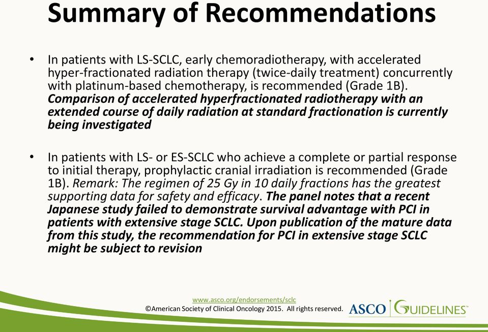 Comparison of accelerated hyperfractionated radiotherapy with an extended course of daily radiation at standard fractionation is currently being investigated In patients with LS- or ES-SCLC who