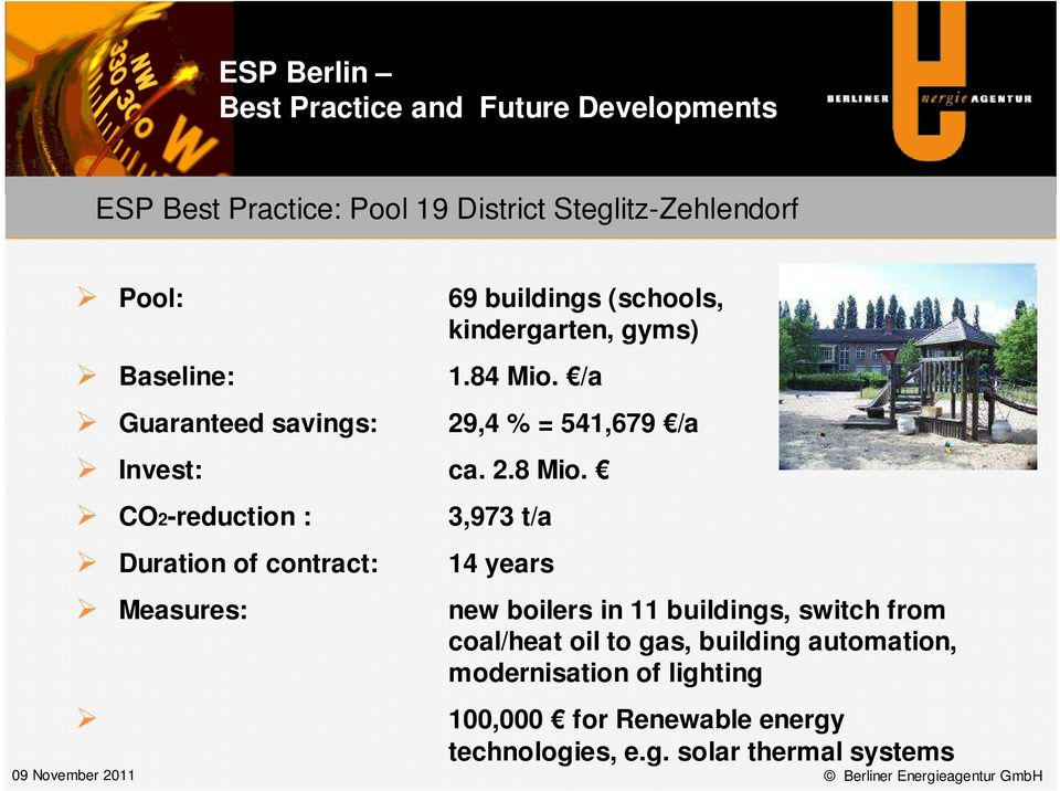 CO2-reduction : Duration of contract: Measures: 3,973 t/a 14 years new boilers in 11 buildings, switch from