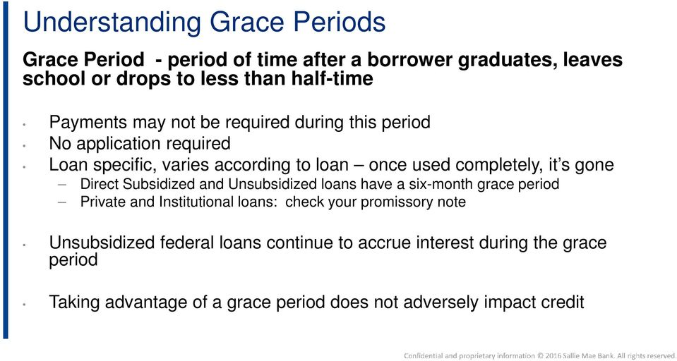gone Direct Subsidized and Unsubsidized loans have a six-month grace period Private and Institutional loans: check your promissory note