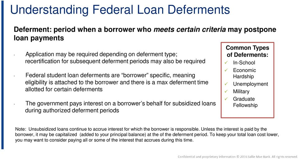 for certain deferments The government pays interest on a borrower s behalf for subsidized loans during authorized deferment periods Common Types of Deferments: In-School Economic Hardship