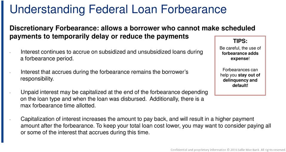 Interest that accrues during the forbearance remains the borrower s responsibility.
