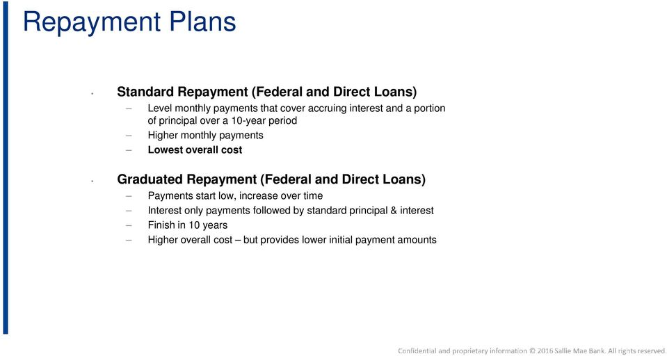 Graduated Repayment (Federal and Direct Loans) Payments start low, increase over time Interest only payments