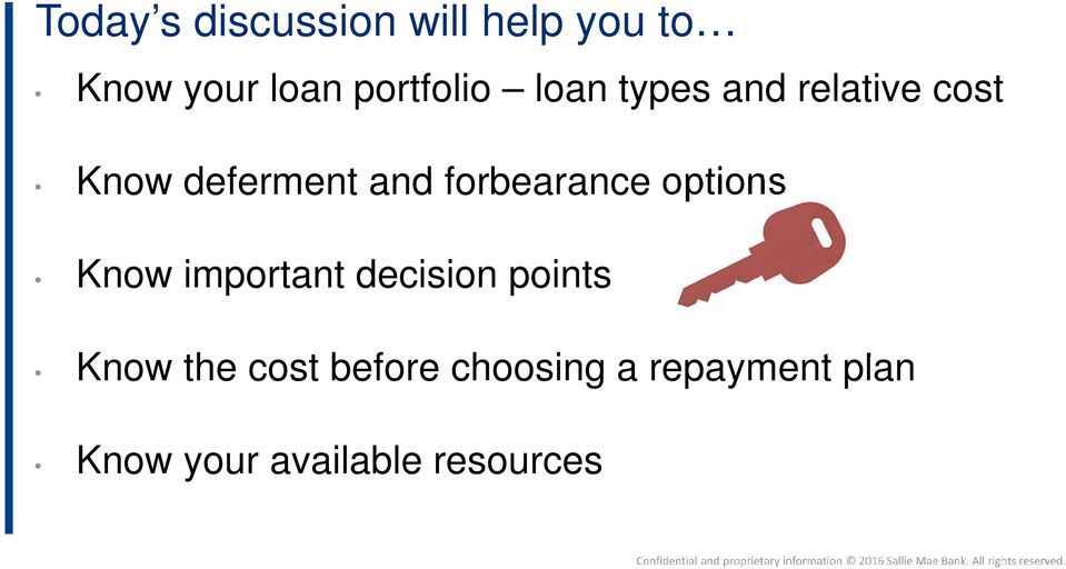 forbearance options Know important decision points Know