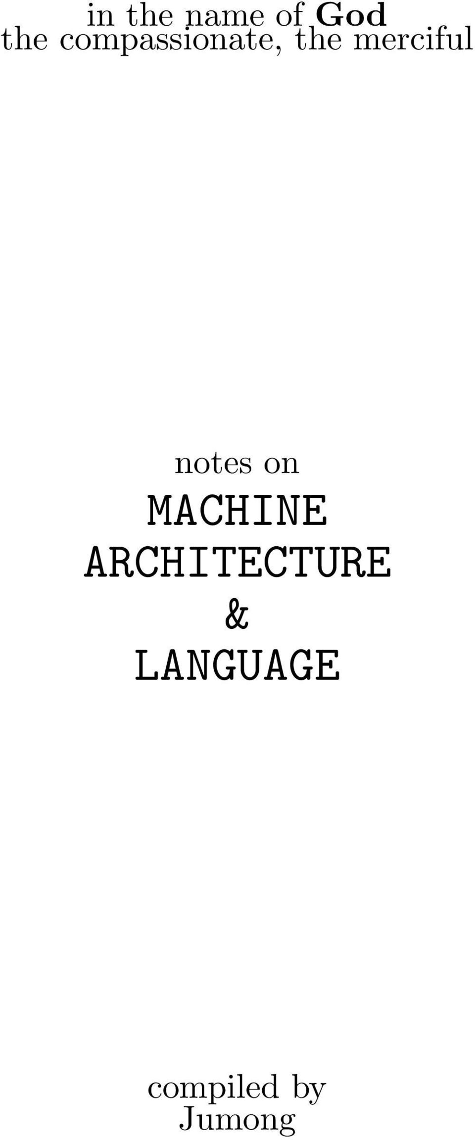 notes on MACHINE