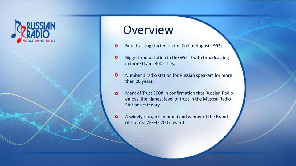 years; Mark of Trust 2008 in confirmation that Russian Radio enjoys the highest level of trust in the