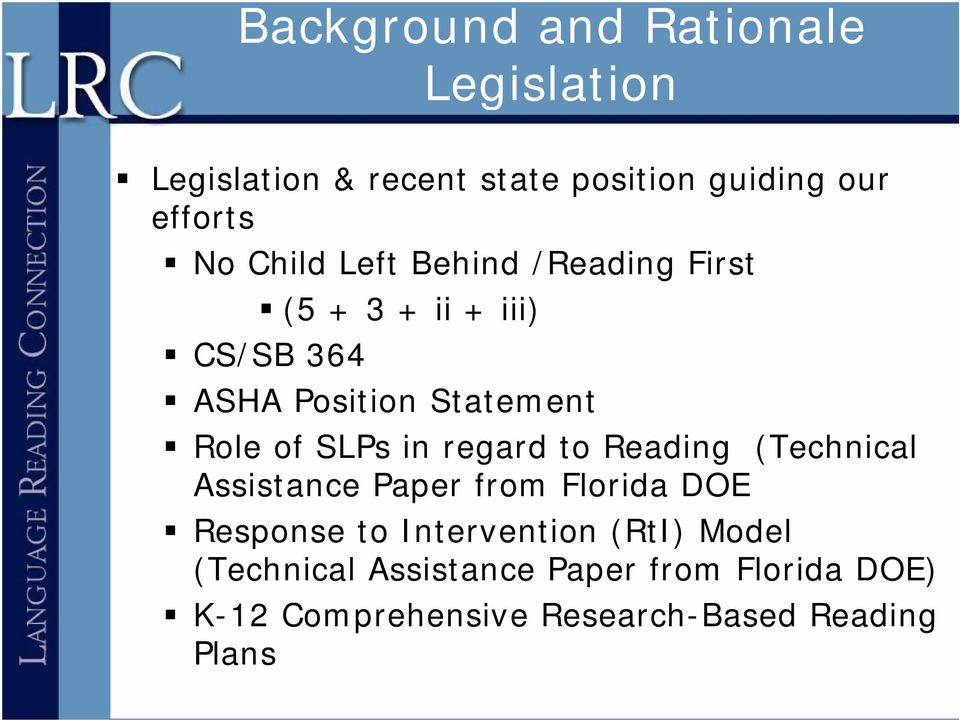 SLPs in regard to Reading (Technical Assistance Paper from Florida DOE Response to Intervention