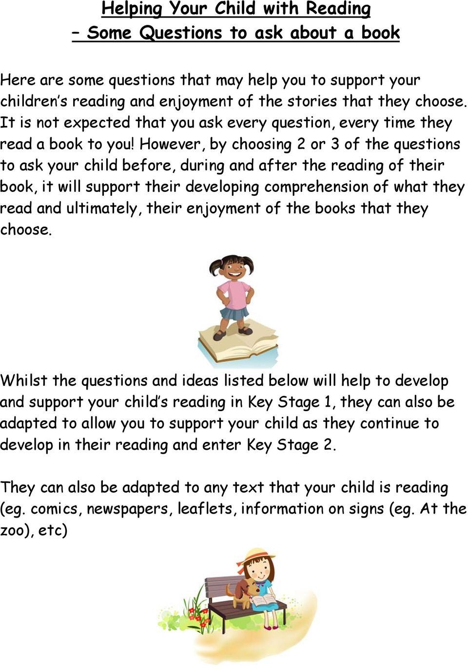 However, by choosing 2 or 3 of the questions to ask your child before, during and after the reading of their book, it will support their developing comprehension of what they read and ultimately,