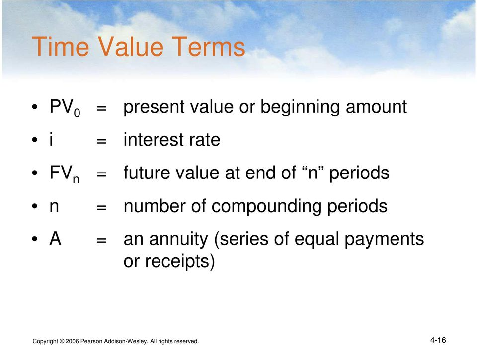 of compounding periods A = an annuity (series of equal payments or