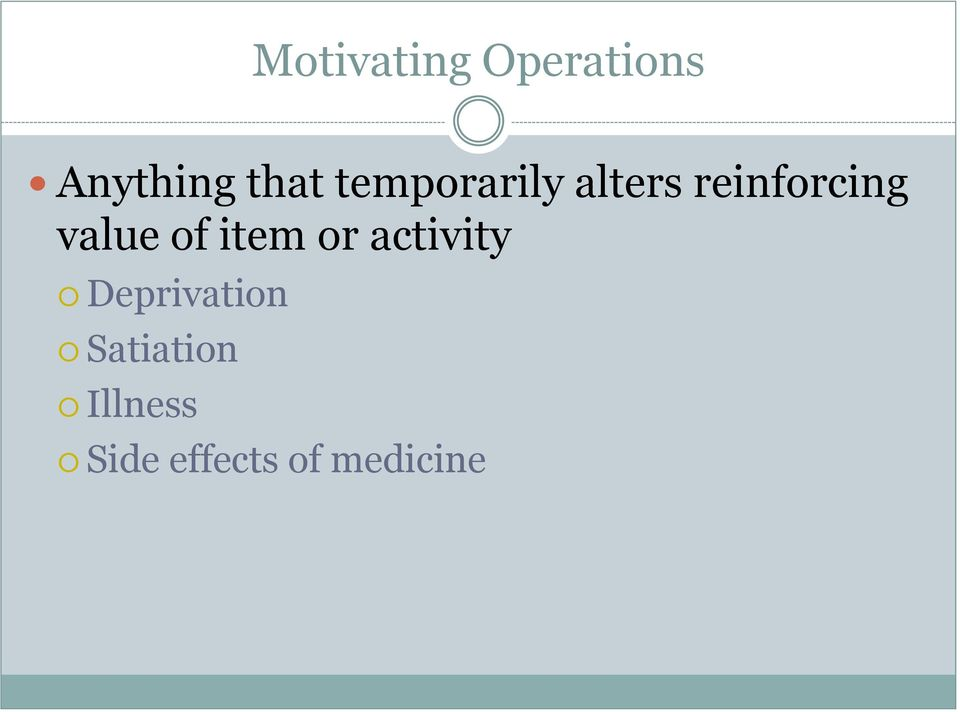 of item or activity Deprivation