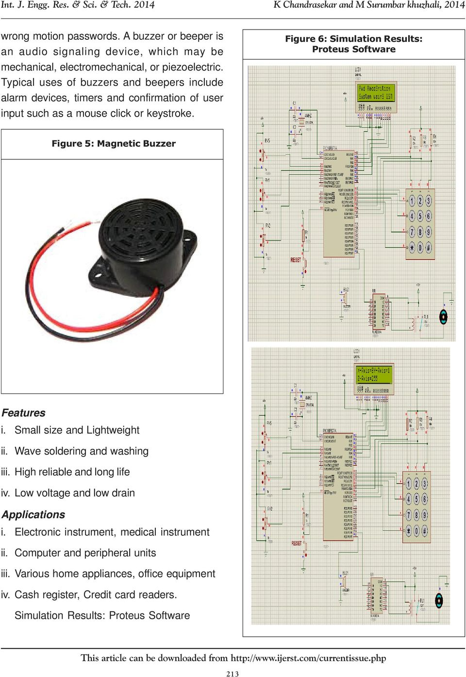 Mems Accelerometer Based Password Recognition System Using Gsm Pdf 3 Axis Pic16f887 Figure 6 Simulation Results Proteus Software 5 Magnetic Buzzer Features I