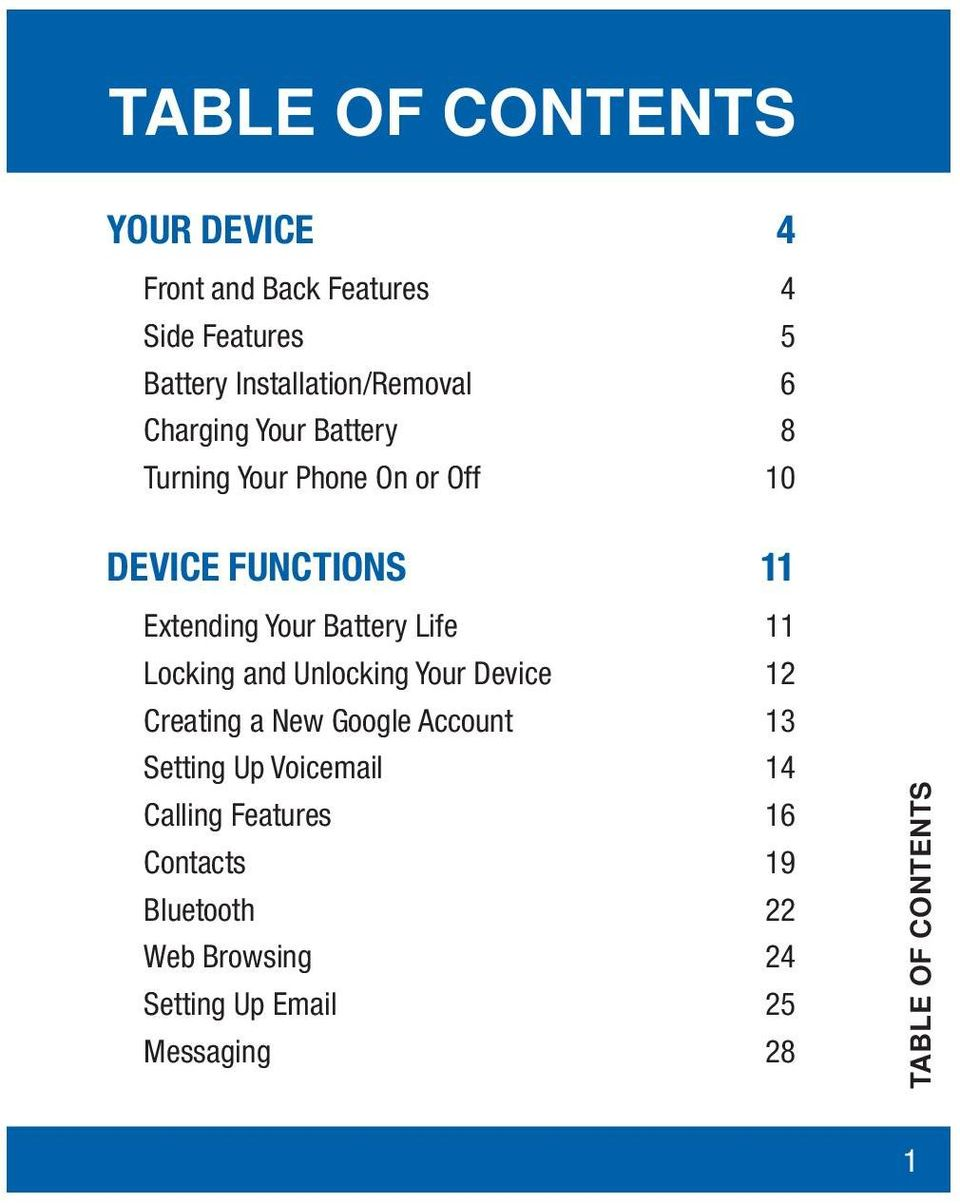 Battery Life 11 Locking and Unlocking Your Device 12 Creating a New Google Account 13 Setting Up