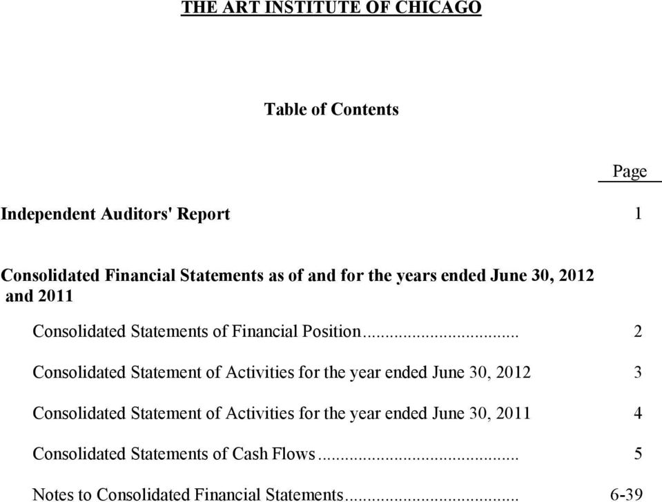 .. 2 Consolidated Statement of Activities for the year ended June 30, 2012 3 Consolidated Statement of Activities