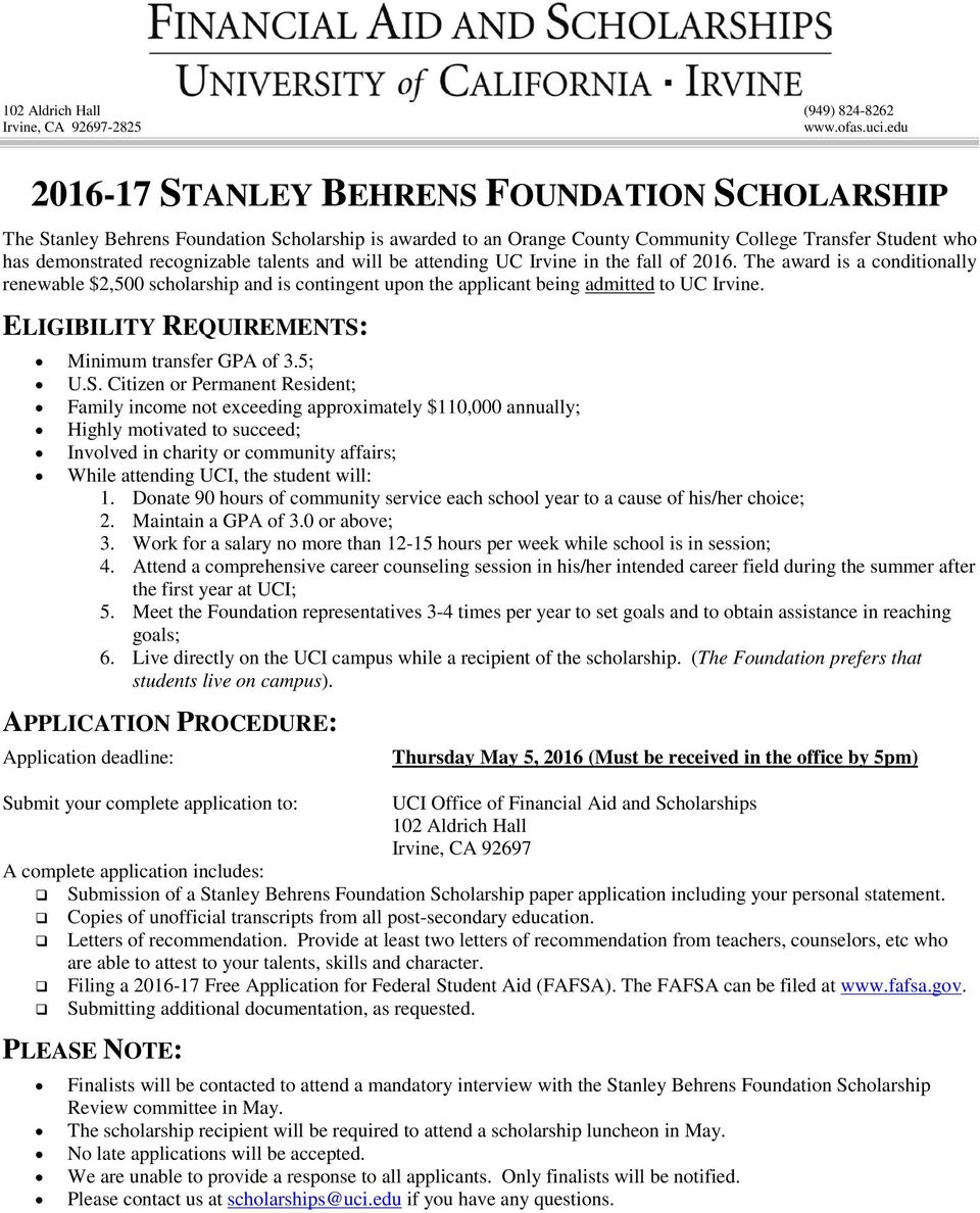 ELIGIBILITY REQUIREMENTS: