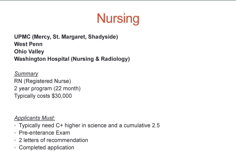 Radiology) Summary RN (Registered Nurse) 2 year program (22 month) Typically costs
