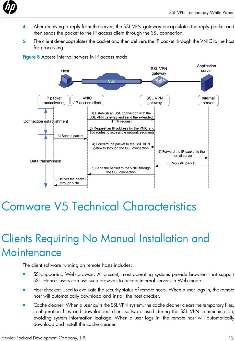 Figure 8 Access internal servers in IP access mode Comware V5 Technical Characteristics Clients Requiring No Manual Installation and Maintenance The client software running on remote hosts includes: