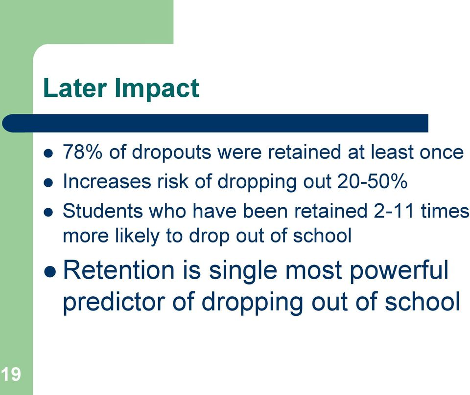 retained 2-11 times more likely to drop out of school