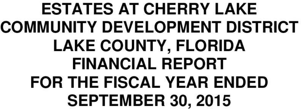 FLORIDA FINANCIAL REPORT FOR THE