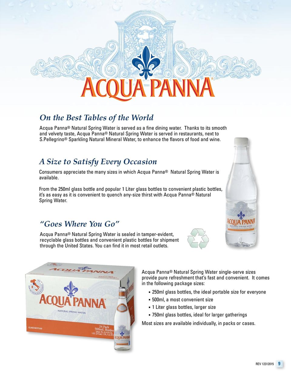 A Size to Satisfy Every Occasion Consumers appreciate the many sizes in which Acqua Panna Natural Spring Water is available.