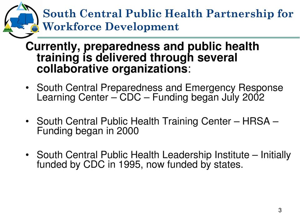 Response Learning Center CDC Funding began July 2002 South Central Public Health Training Center HRSA Funding