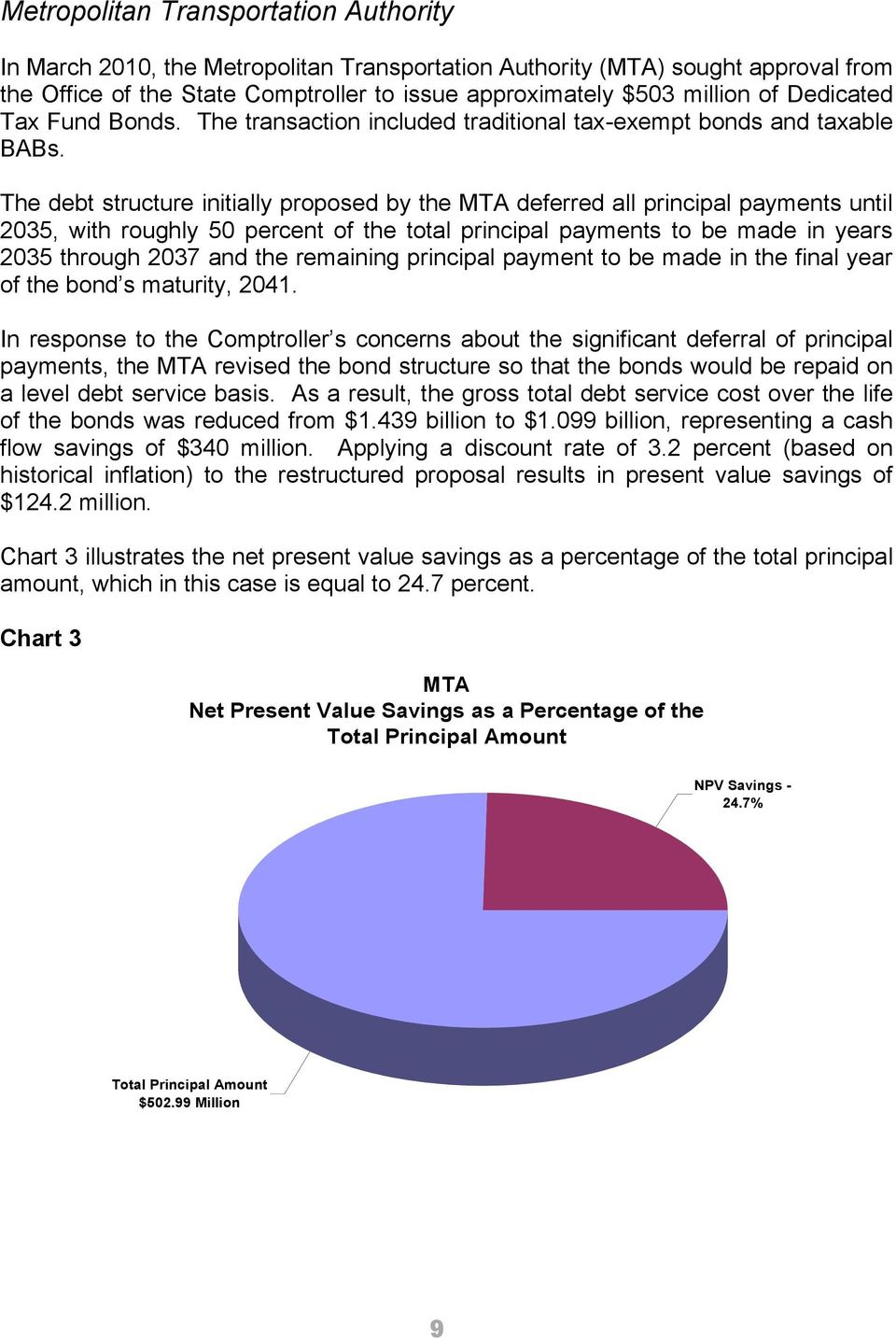 The debt structure initially proposed by the MTA deferred all principal payments until 2035, with roughly 50 percent of the total principal payments to be made in years 2035 through 2037 and the