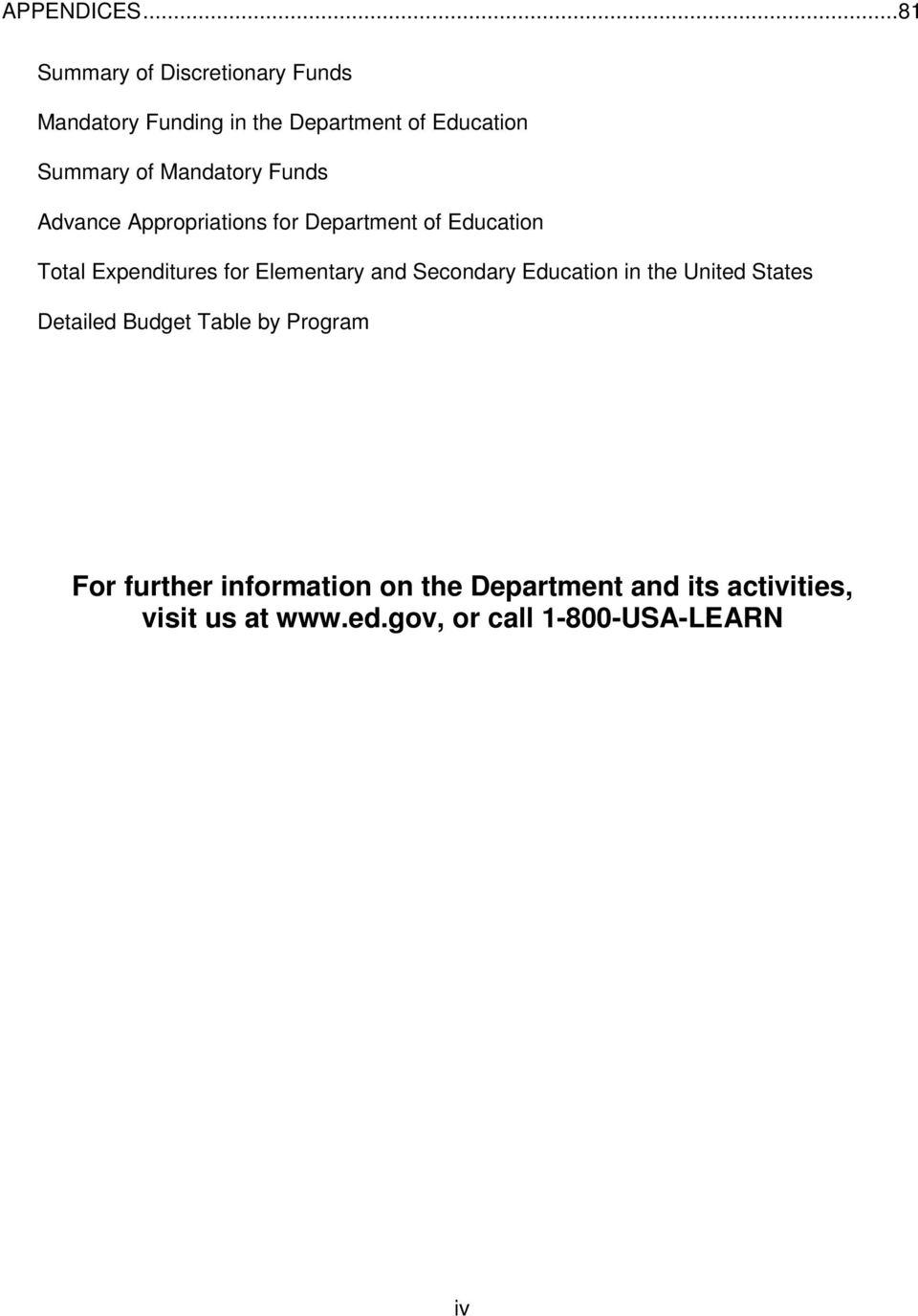 Mandatory Funds Advance Appropriations for Department of Education Total Expenditures for