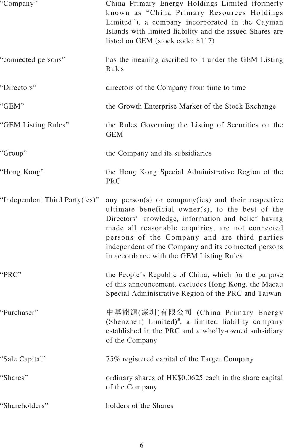to time the Growth Enterprise Market of the Stock Exchange the Rules Governing the Listing of Securities on the GEM the Company and its subsidiaries the Hong Kong Special Administrative Region of the
