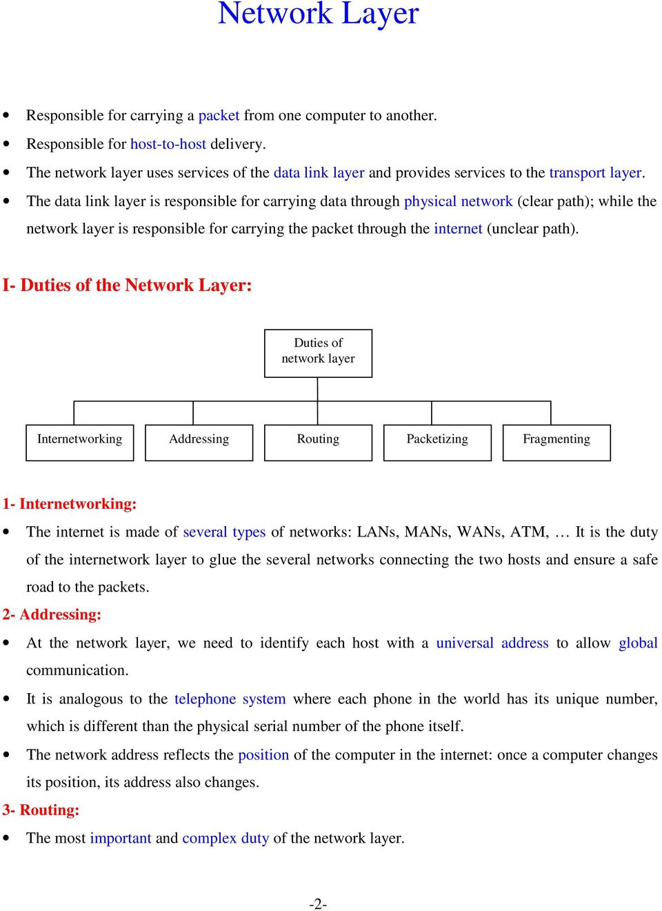The data link layer is responsible for carrying data through physical network (clear path); while the network layer is responsible for carrying the packet through the internet (unclear path).