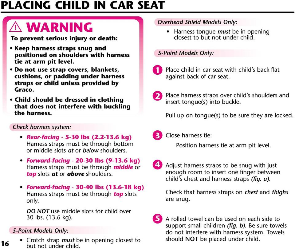 Overhead Shield Models Only: Harness tongue must be in opening closest to but not under child. 1 2 5-Point Models Only: Place child in car seat with child s back flat against back of car seat.