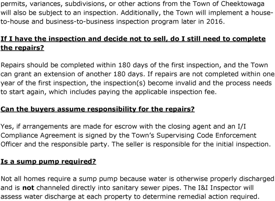 If I have the inspection and decide not to sell, do I still need to complete the repairs?