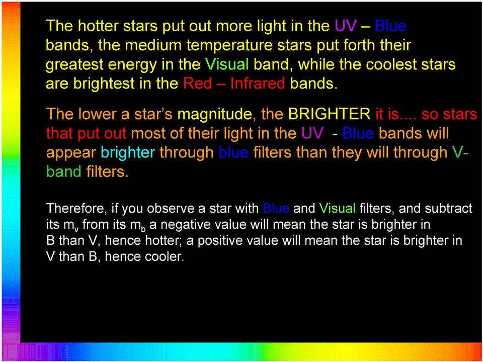 .. so stars that put out most of their light in the UV - Blue bands will appear brighter through blue filters than they will through V- band filters.