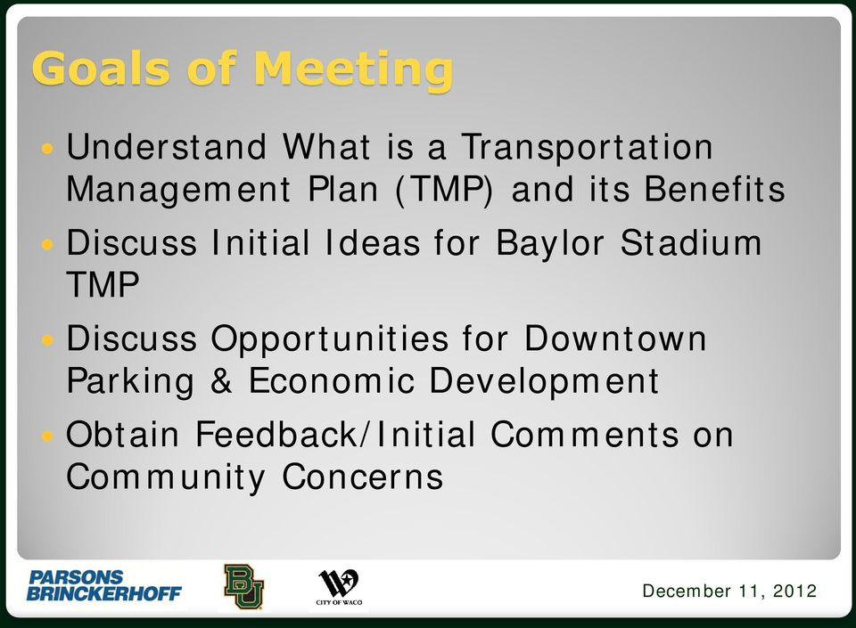 Stadium TMP Discuss Opportunities for Downtown Parking &