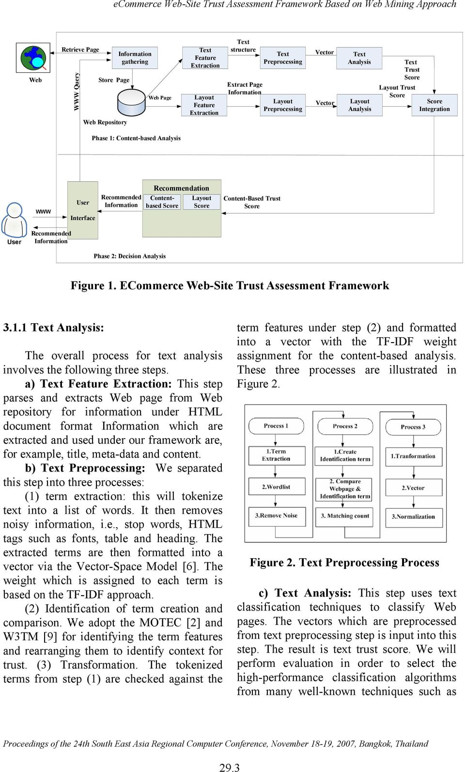 Content-Based Trust User Recommended Phase 2: Decision Analysis Figure 1. ECommerce Web-Site Trust Assessment Framework 3.1.1 Analysis: The overall process for text analysis involves the following three steps.
