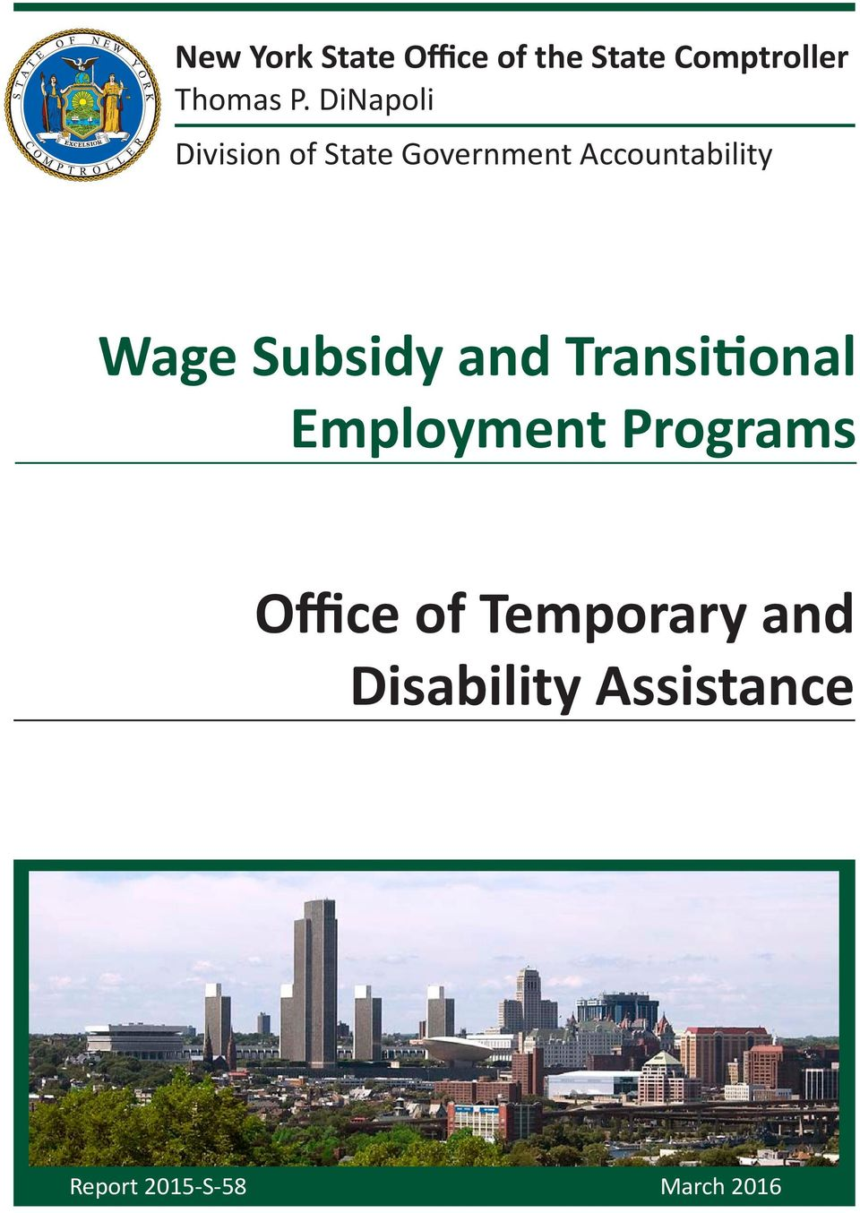 Subsidy and Transitional Employment Programs Office of