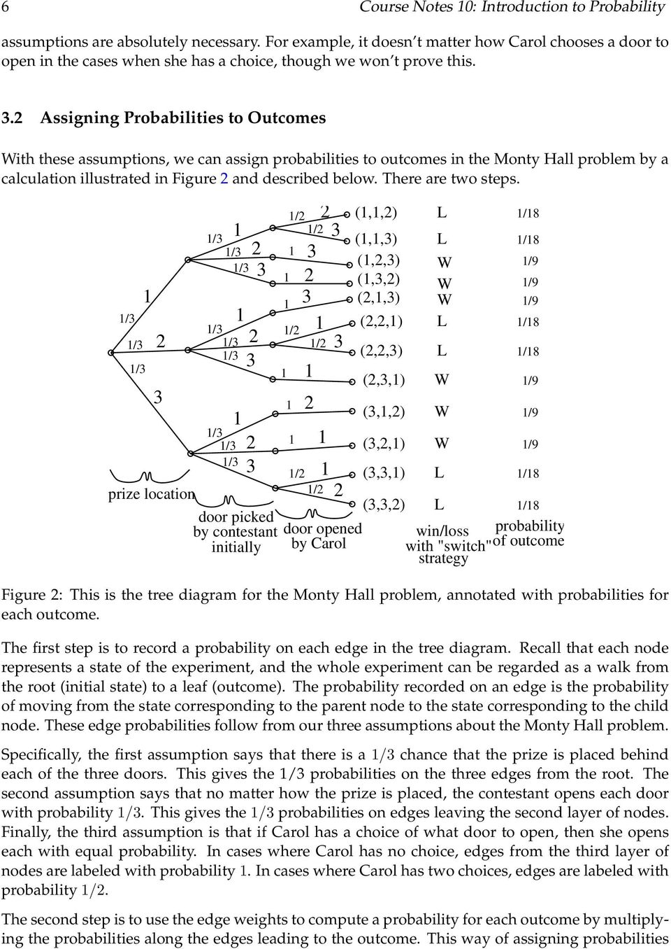 Assigning Probabilities to Outcomes With these assumptions, we can assign probabilities to outcomes in the Monty Hall problem by a calculation illustrated in Figure and described below.