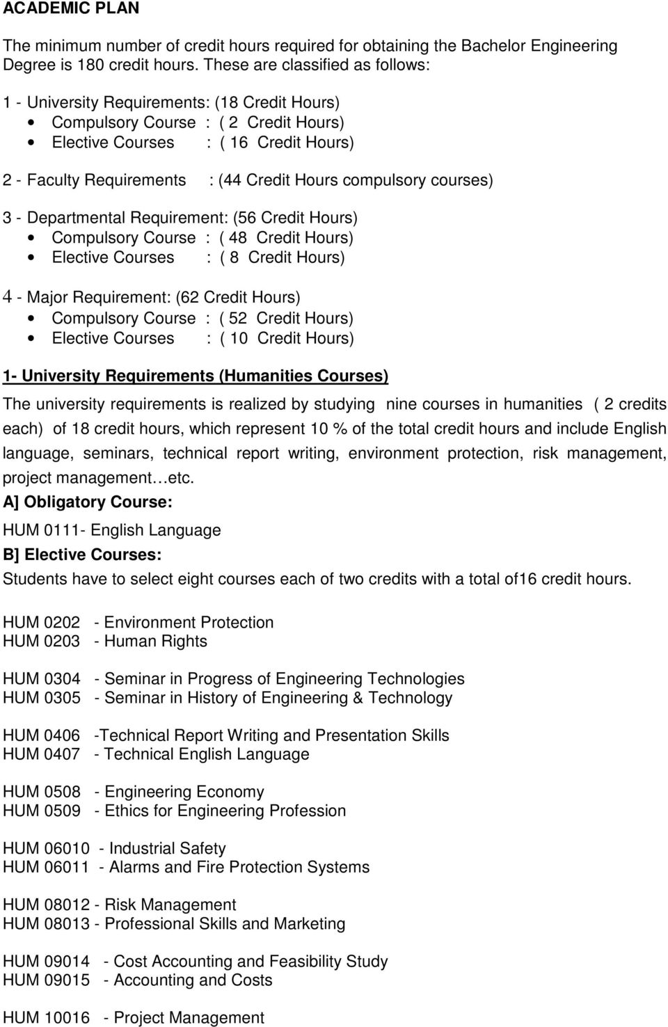 compulsory courses) 3 - Departmental Requirement: (56 Credit Hours) Compulsory Course : ( 48 Credit Hours) Elective Courses : ( 8 Credit Hours) 4 - Major Requirement: (62 Credit Hours) Compulsory