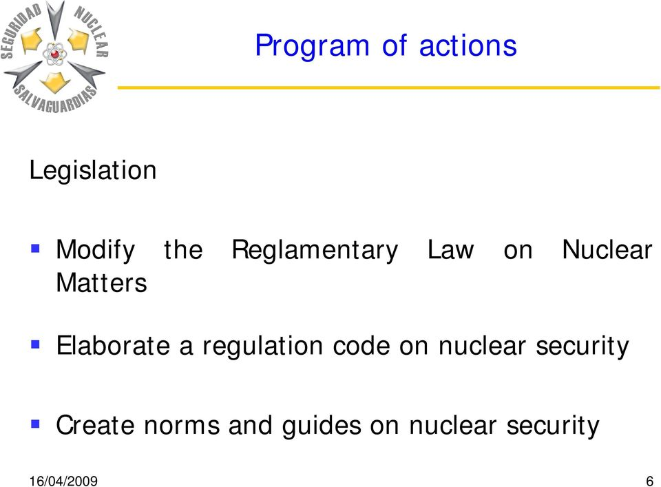 a regulation code on nuclear security Create