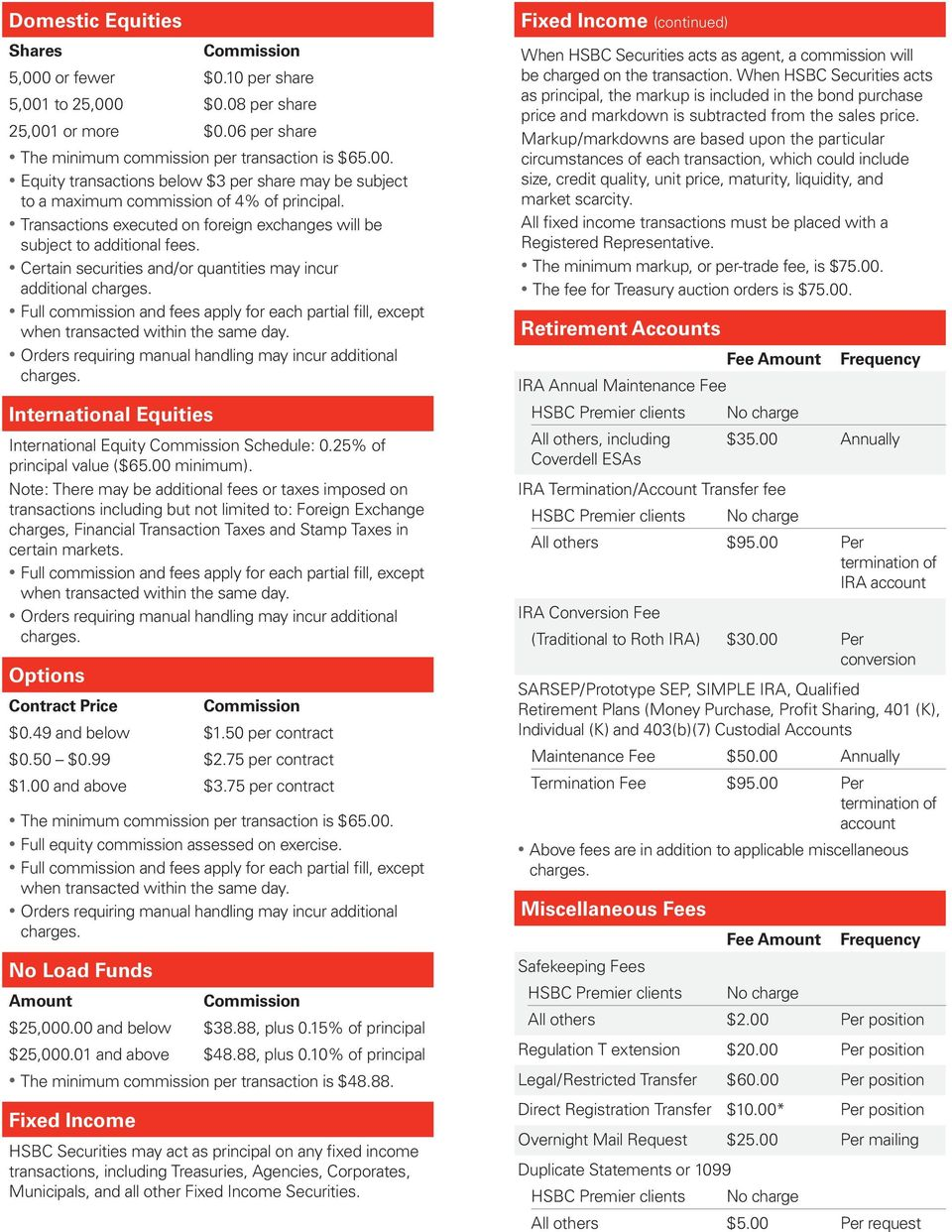 HSBC Securities Commission and Fee Schedule - PDF