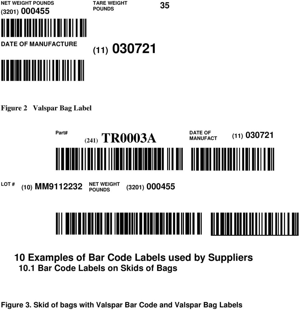NET WEIGHT POUNDS (3201) 000455 10 Examples of Bar Code Labels used by Suppliers 10.