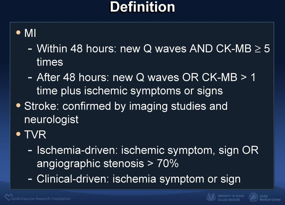 confirmed by imaging studies and neurologist TVR - Ischemia-driven: ischemic