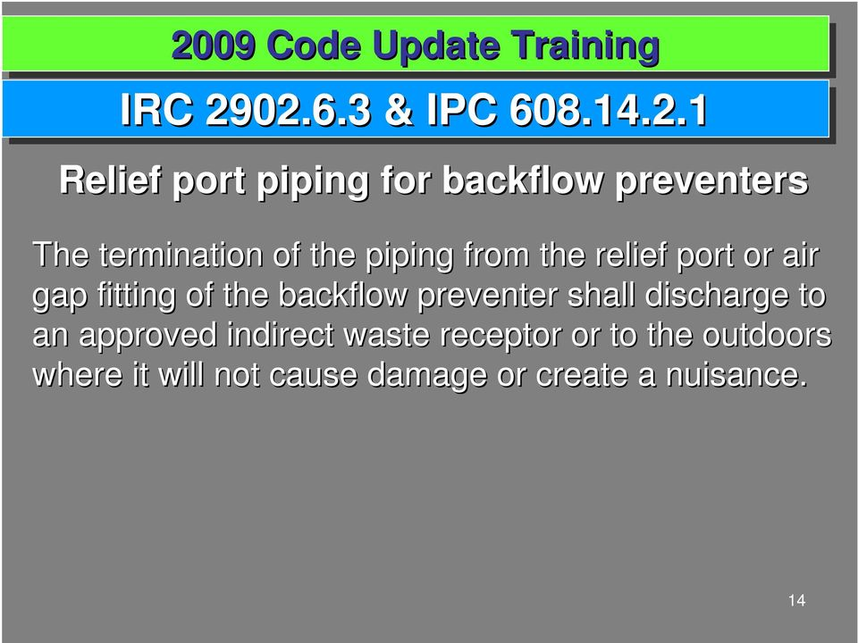termination of the piping from the relief port or air gap fitting of the