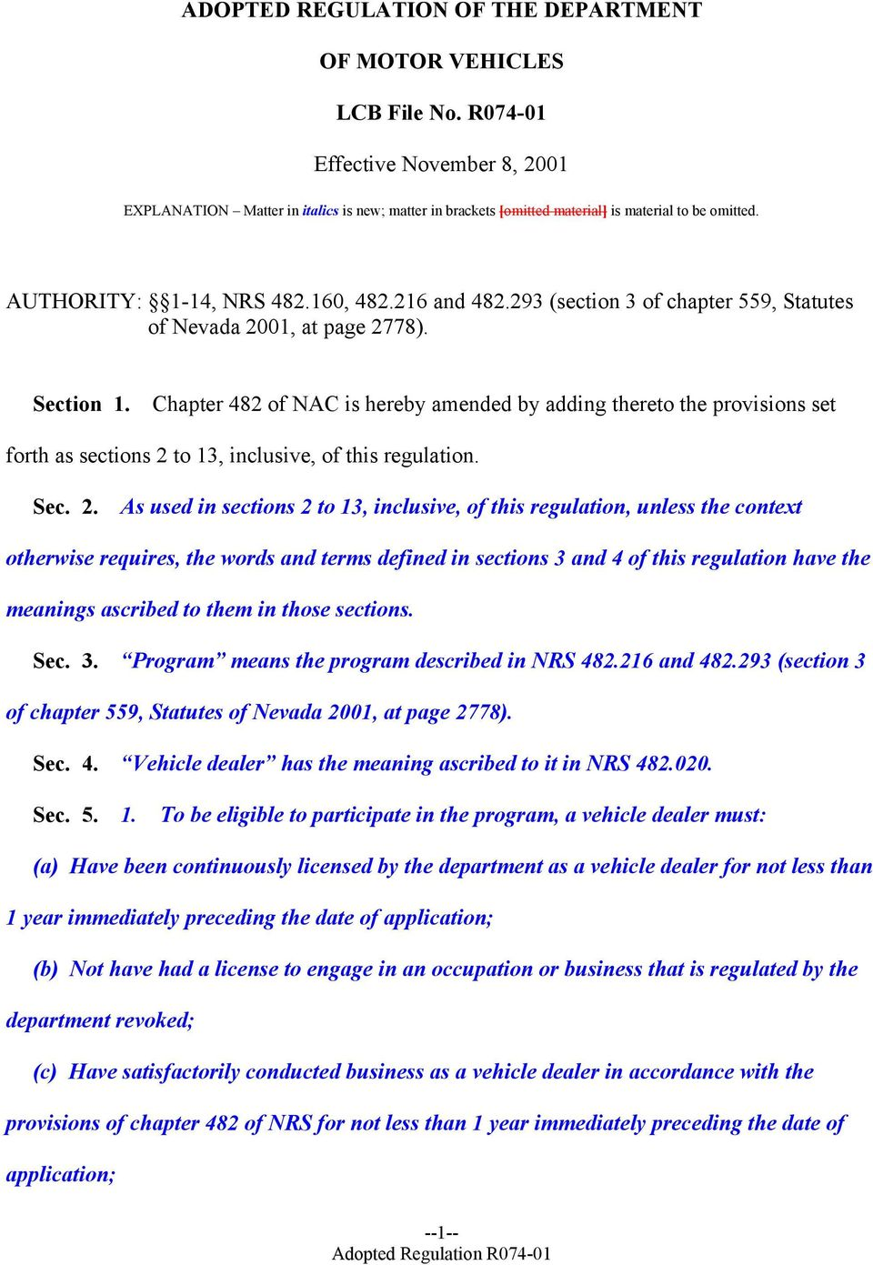 293 (section 3 of chapter 559, Statutes of Nevada 2001, at page 2778). Section 1.