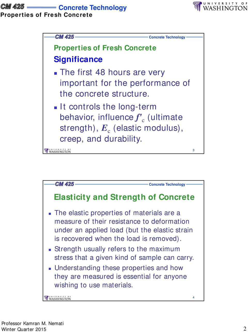 3 Elasticity and Strength of Concrete The elastic properties of materials are a measure of their resistance to deformation under an applied load (but the