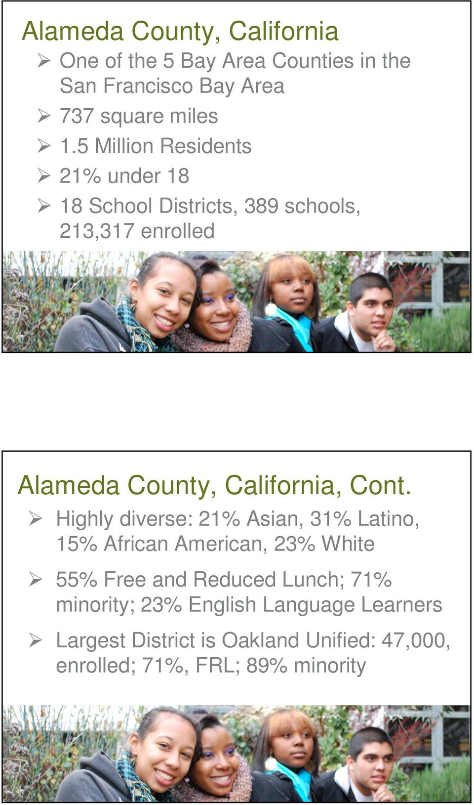Cont. Highly diverse: 21% Asian, 31% Latino, 15% African American, 23% White 55% Free and Reduced Lunch; 71%