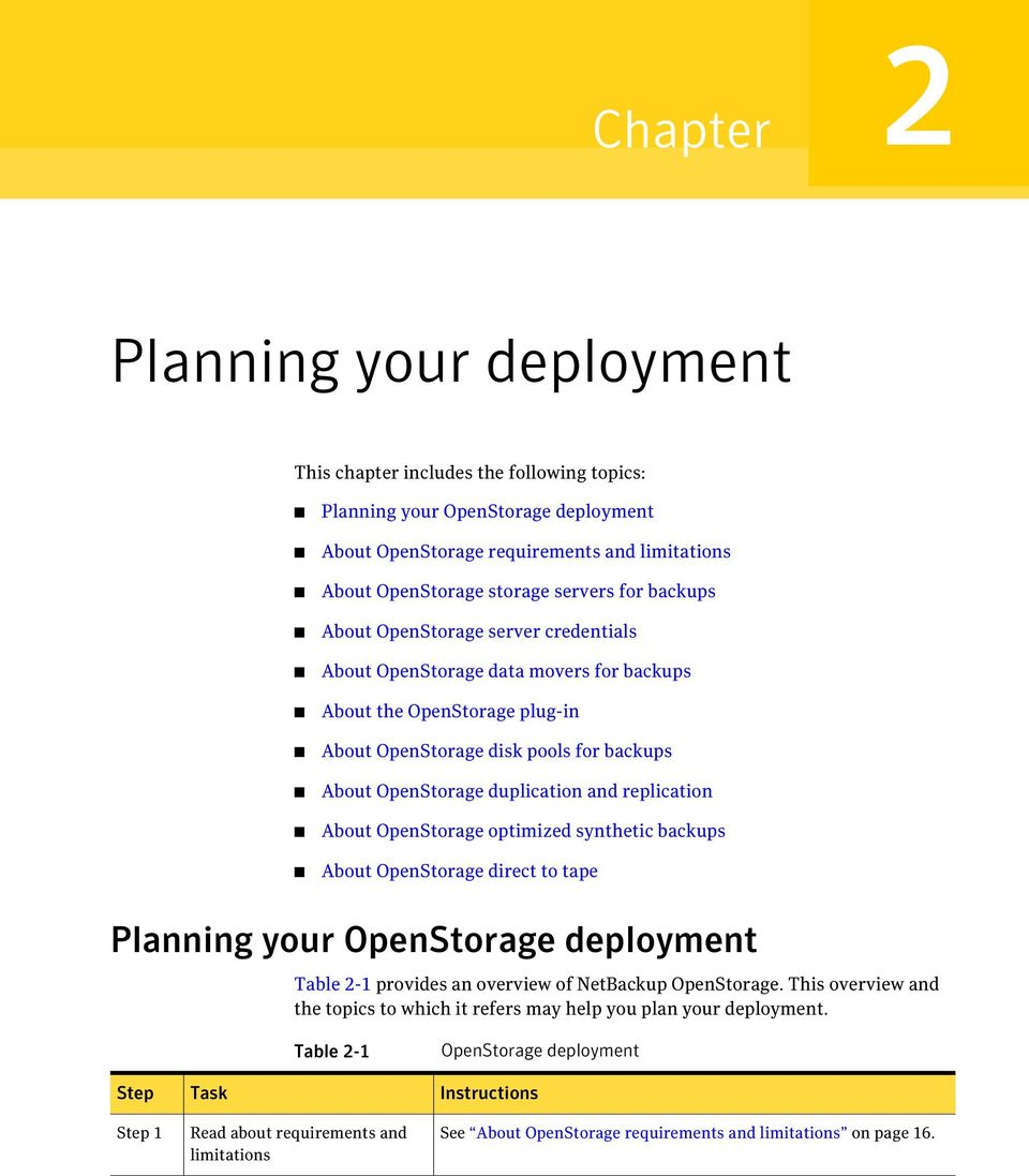 replication About OpenStorage optimized synthetic backups About OpenStorage direct to tape Planning your OpenStorage deployment Table 2-1 provides an overview of NetBackup OpenStorage.